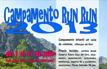 Cartel Campamento Run Run